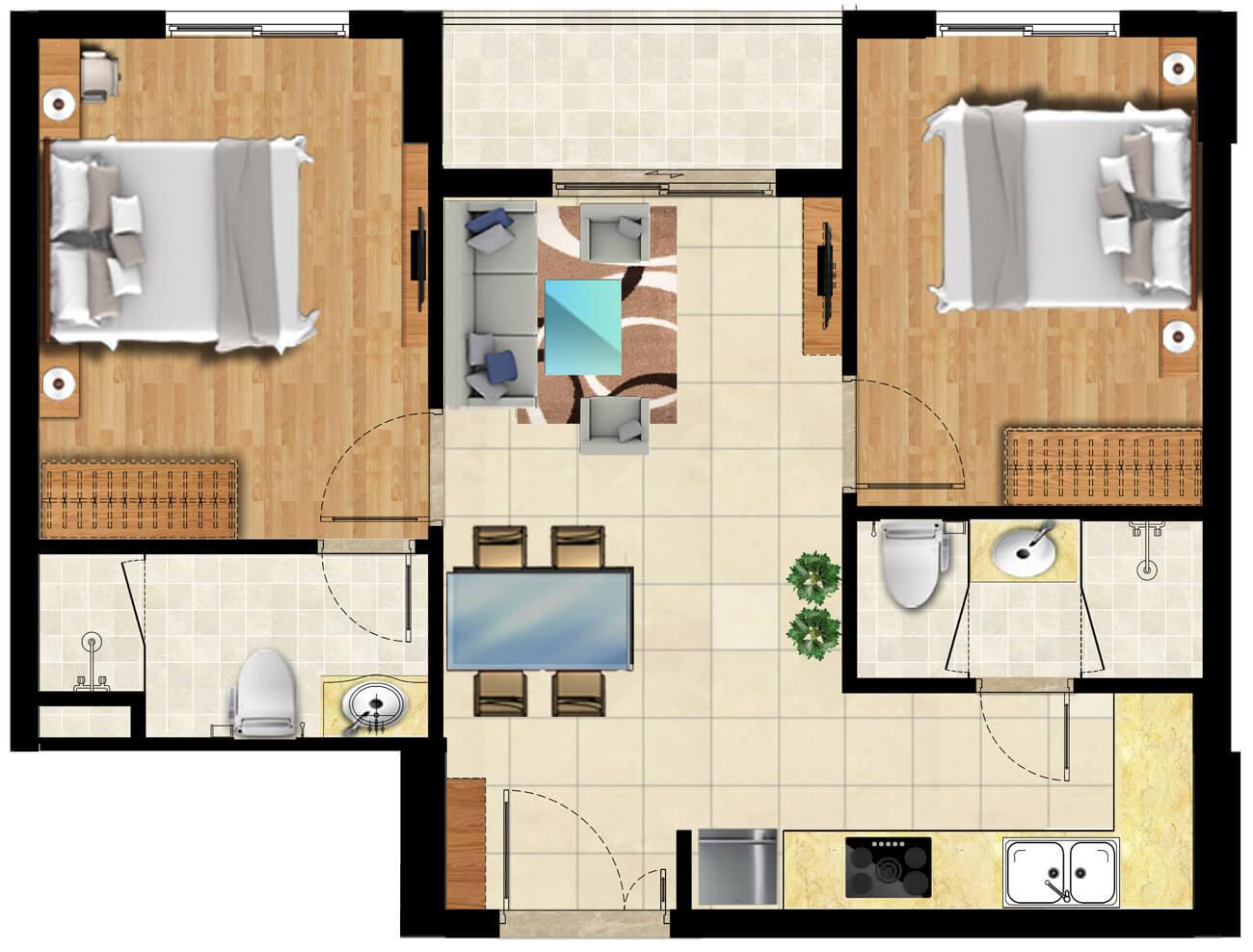 Mẫu căn hộ S-Home Bình Chiểu lô H